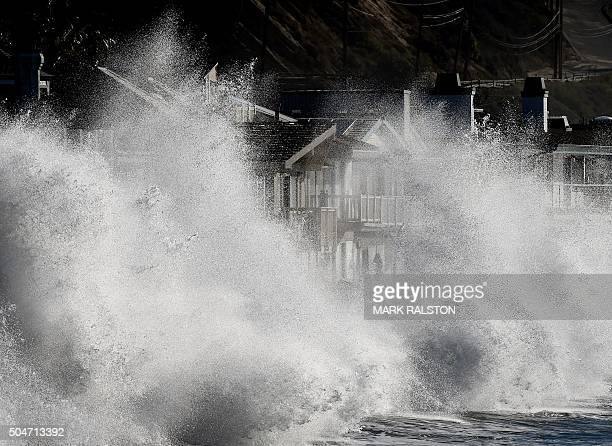 El Nino generated storm waves crash onto seaside houses at Mondos Beach California on January 12 2016 Californians are now experiencing a super El...