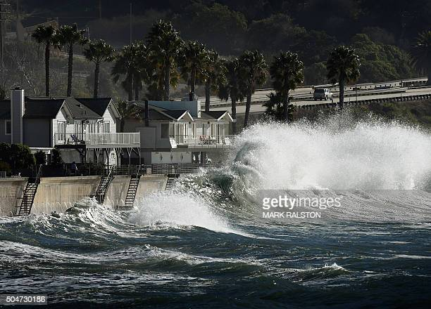 El Nino generated storm waves crash onto seaside houses at Mondos Beach California on January 12 2016 Californian's are now experiencing a super El...