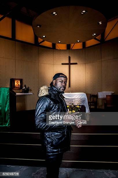 El Nino La Bonne Nouvelle Musician RAP Catholic Golgotha Music Association photographed in Aulnay Sous Bois