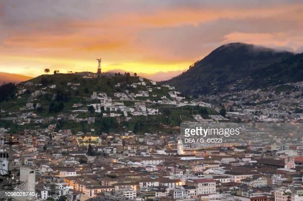 El Panecillo hill at sunset, Quito , Pichincha Province, Ecuador.