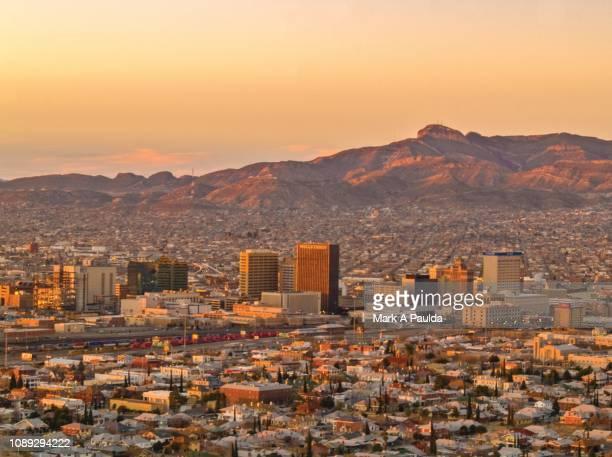 el paso and juarez at sunrise - ciudad juarez stock pictures, royalty-free photos & images