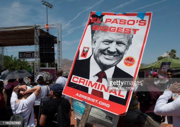 El Paso residents protest against the visit of US President Donald Trump to the city after the Walmart shooting that left a total of 22 people dead...
