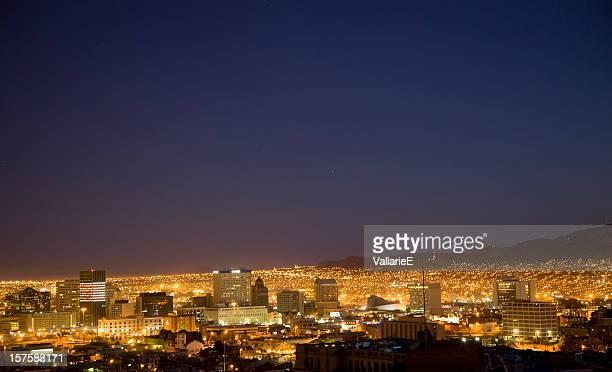 el paso skyline at night - ciudad juarez stock photos and pictures