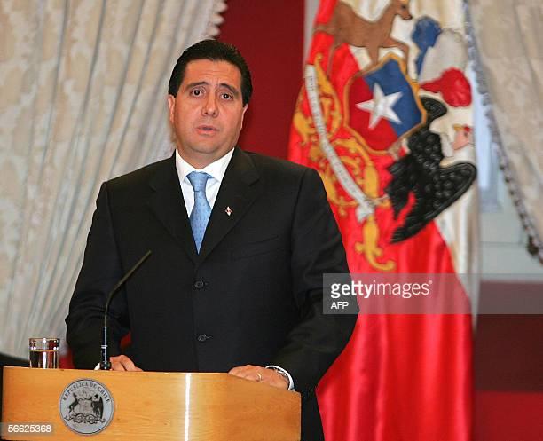 El presidente de Panama Martin Torrijos brinda un discurso en el Palacio de La Moneda, sede del gobierno chileno, en Santiago, el 19 de enero de...