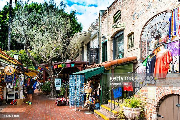 el pueblo street stalls and cafe  - los angeles - pueblo built structure stock photos and pictures
