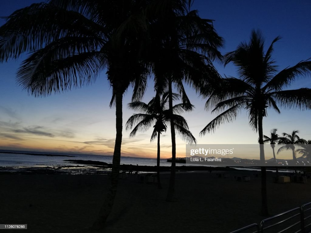 El reducto Beach, at sunset Arrecife : Foto de stock