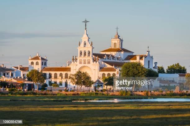 El Rocio village, El Rocio hermitage, evening light, El Rocio, Almonte, Marismas de Donana, Donana National Park, Huelva province, Andalusia, Spain