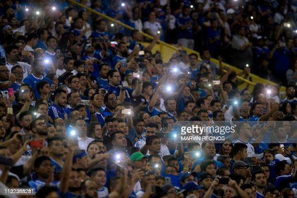 El Salvador fans cheer before the CONCACAF League of Nations football match between El Salvador and Jamaica on the final date of the preliminary...
