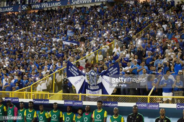 El Salvador fans cheer during a match between El Salvador and Jamiaca as part of the CONCACAF Gold Cup 2019 Qualifiers at Cuscatlan Stadium on March...