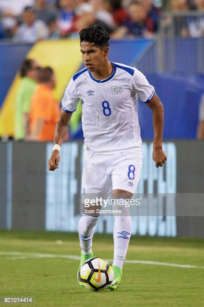 El Salvador midfielder Denis Pineda dribbles the ball during a CONCACAF Gold Cup Quarterfinal match between the United States v El Salvador at...