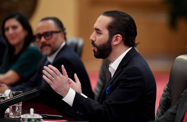 El Salvador President Nayib Bukele talks to China's President Xi Jinping at the Great Hall of the People on December 3, 2019 in Beijing, China.