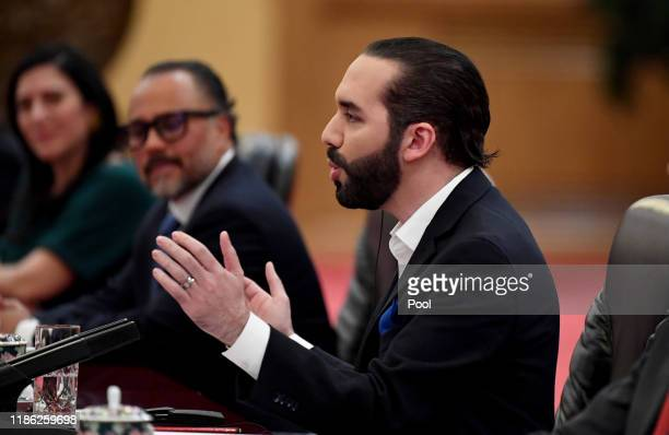 El Salvador President Nayib Bukele talks to China's President Xi Jinping at the Great Hall of the People on December 3 2019 in Beijing China