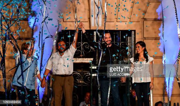 El Salvador presidential candidate Nayib Bukele of the Great National Alliance his wife Gabriela Rodriguez and Vice President Felix Ulloa celebrate...