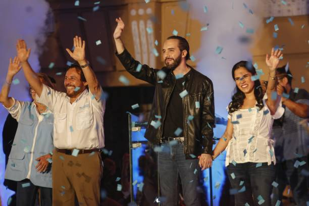 El Salvador presidential candidate Nayib Bukele of the Great National Alliance , his wife Gabriela Rodriguez and Vice President Felix Ulloa celebrate...