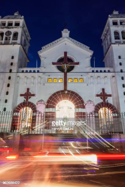 El Salvador, Sonsonate, Juayua, Black Christ of Juayua Church at night