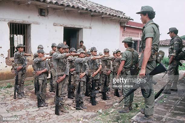El Salvadoran army on operation in an area under guerrilla control