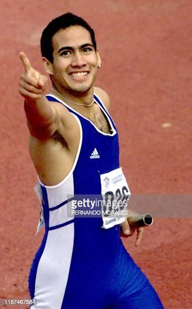 El Salvadorean athlete Antonio Cerpas is seen crossing the finish line in Guatemala City 02 November 2001 El atleta salvadoreno Antonio Cerpas...
