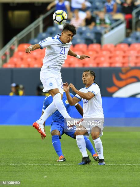 El Salvador's Bryan Tamacas heads the ball against Curazao during the El Salvador vs Curacao CONCACAF Group C Gold Cup soccer game on July 13 2017 at...
