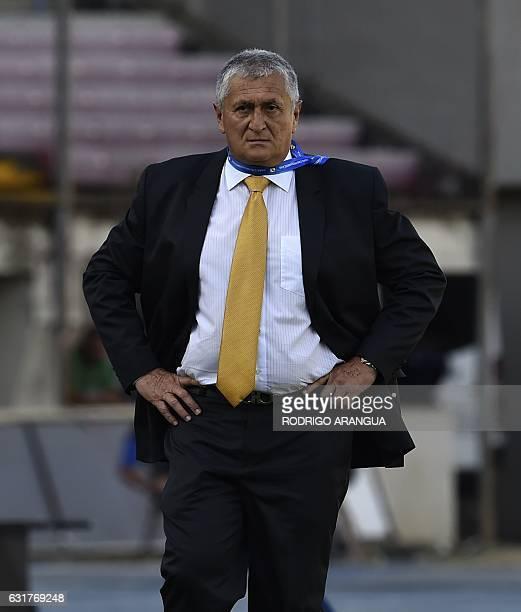 El Salvador's coach Eduardo Lara looks on during the Central American Football Union tournament match between El Salvador and Honduras at Rommel...