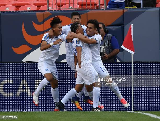 El Salvador's Gerson Mayen celebrates with teammates after scoring against Curazao in their Group C game during the 2017 CONCACAF Gold Cup at the...
