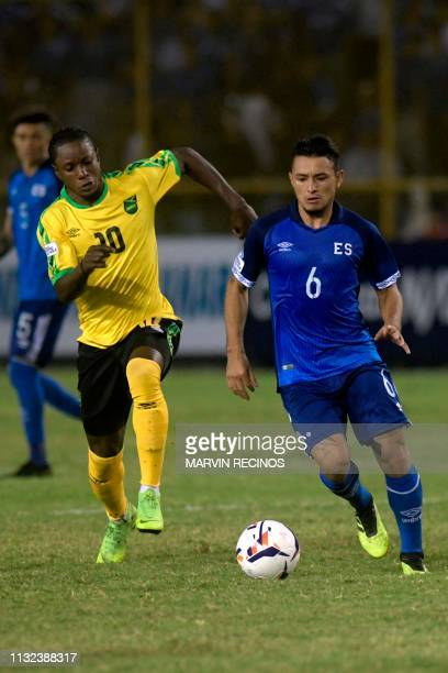 El Salvador's Narciso Orellana vies for the ball with Jamaica's Kemar Lawrence during their CONCACAF League of Nations football match on the final...
