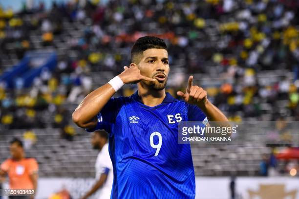 El Salvador's Nelson Bonilla celebrates after scoring a goal during the 2019 Concacaf Gold Cup match between Curacao and El Salvador on June 17 2019...