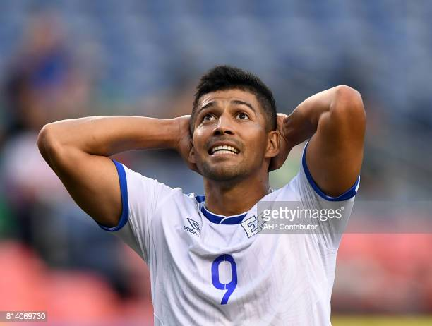 El Salvador's Nelson Bonilla reacts after missing a shot for goal against Curazao during the El Salvador vs Curacao CONCACAF Group C Gold Cup soccer...