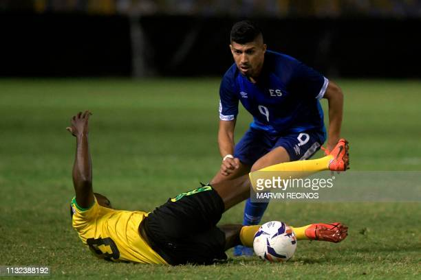 El Salvador's Nelson Bonilla vies for the ball with Jamaica's Kemar Lawrence during their CONCACAF League of Nations football match on the final date...