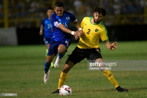 El Salvador's Oscar Ceren vies for the ball with Jamaica's Michael Hector during their CONCACAF League of Nations football match on the final date of...