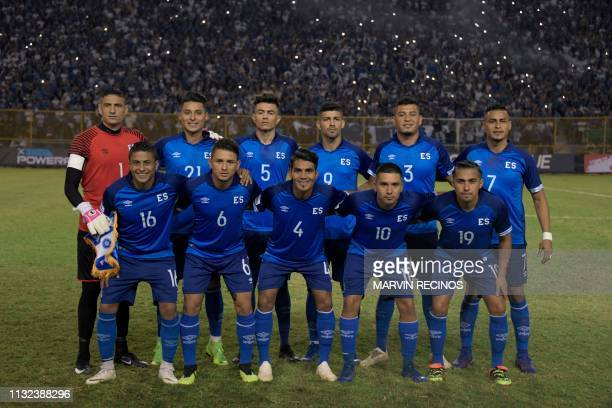 El Salvador's players pose before their CONCACAF League of Nations football match against Jamaica on the final date of the preliminary phase of the...