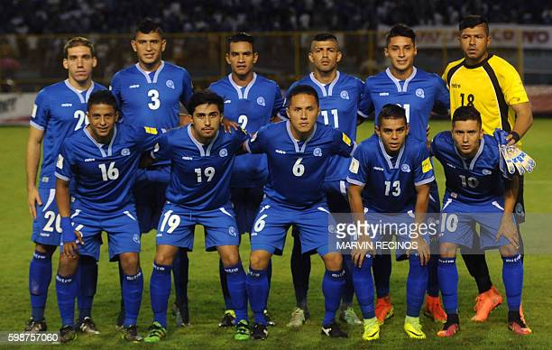 El Salvador's players pose for pictures before the start of their FIFA World Cup 2018 qualifiers football match against Mexico in the Cuscatlan...