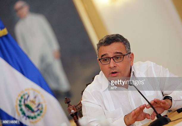 El Salvador's President Mauricio Funes speaks with foreign journalists during a meeting , prior to the presidential election to be held on February...