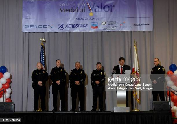 El Segundo police officers Rey Lopez Luke Muir Armando Rodriguez and Tony de la Rambelje received the distinguished service award during the 45th...