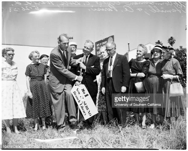 El Sereno groundbreaking 26 May 1958 Councilman Ernest DebsHarold L Hamill A Parisi Caption slip reads 'Photographer Olmo Date Reporter Farrell...