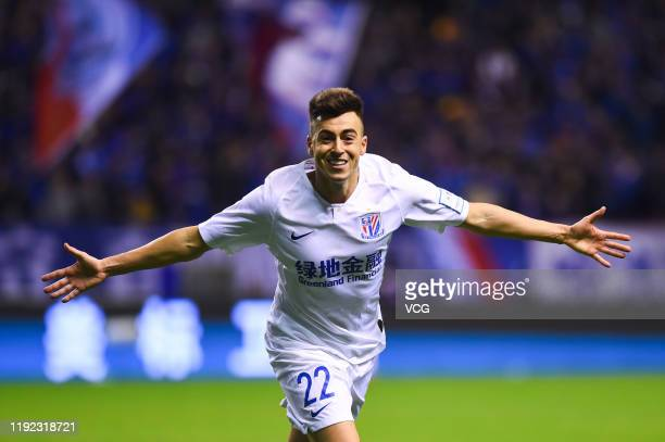 El Shaarawy of Shanghai Greenland Shenhua celebrates a point during 2019 Chinese Football Association Cup final match between Shanghai Greenland...