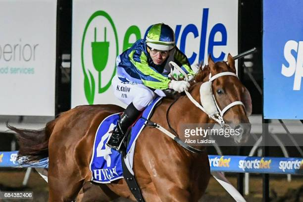 El Sicario ridden by Noel Callow wins the Black Leopard Skin Care BM70 Handicap at Racingcom Park Synthetic Racecourse on May 18 2017 in Pakenham...