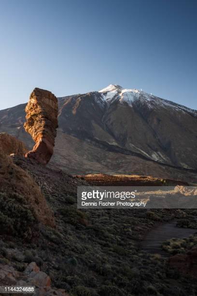 el teide volcano mountain and los roques de garcia - el teide national park stock pictures, royalty-free photos & images