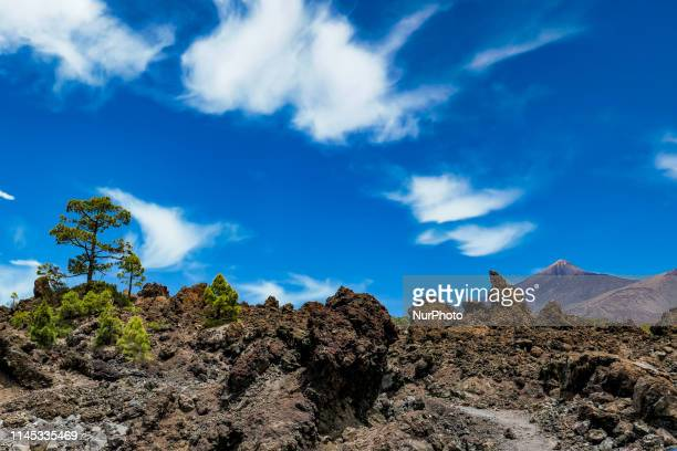 El Teide volcano mountain peak in Tenerife, Canary islands of Spain with blue sky and clouds, a protected natural park, monument attraction and...