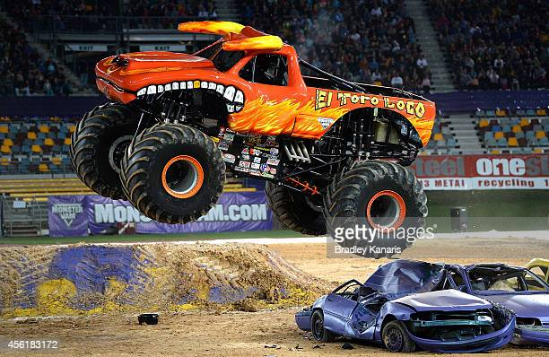 El Toro Loco launches over the jump during Monster Jam at Queensland Sport and Athletics Centre on September 27 2014 in Brisbane Australia