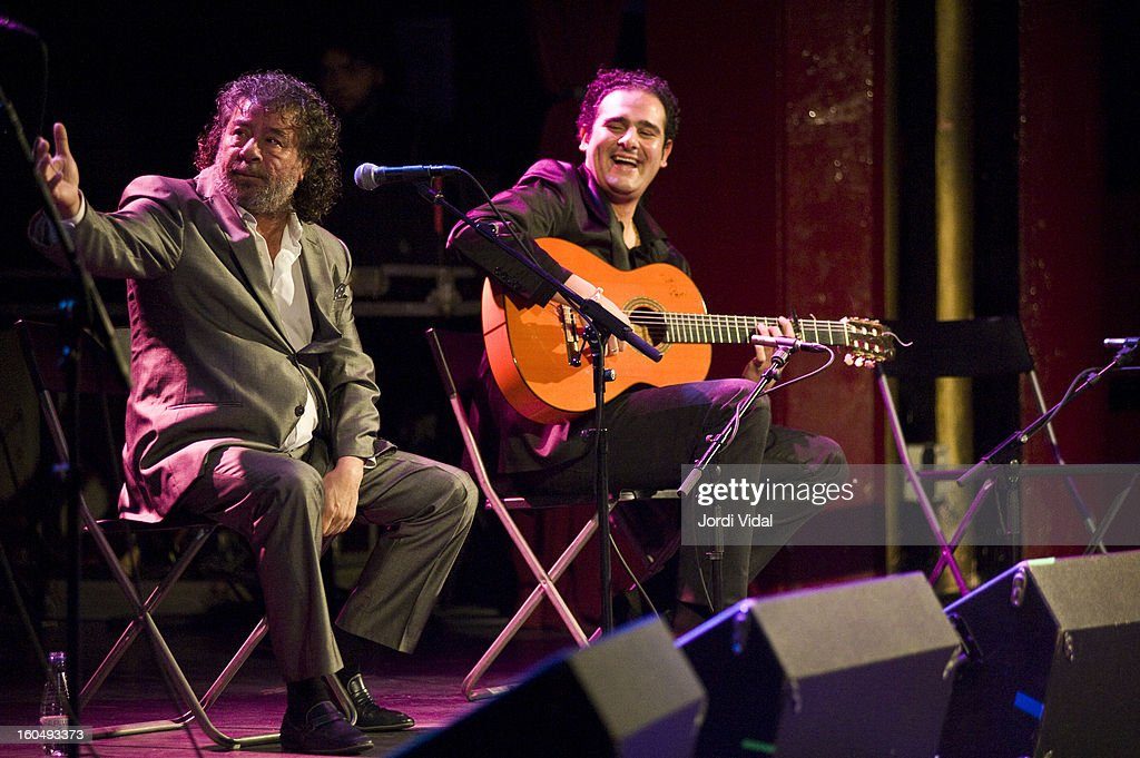 El Torta and Diego del Morao perform on stage during Caprichos del Apolo at Sala Apolo on February 1, 2013 in Barcelona, Spain.