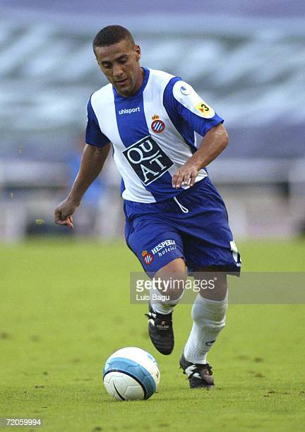 El Yaagoubi Moha of Espanyol in action during the Spanish Primera Division match between RCD Espanyol and Osasuna at the Lluis Companys stadium on...