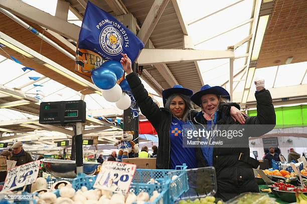 Ela Godek and Teresa Wall of Teresa's Salads show their support towards Leicester City FC during a Leicester Backing the Blues Campaign in support of...