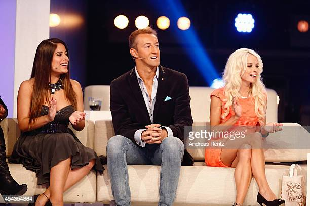 Ela Tas MarioMax Prinz zu SchaumburgLippe and Mia Julia attend the Promi Big Brother finals at Coloneum on August 29 2014 in Cologne Germany