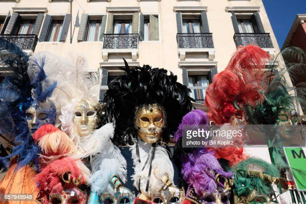 Elaborate feather masks for Carnival