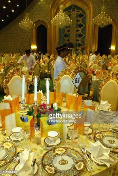 Elaborate gold place settings for the Persantapan Pengantin Diraja following the wedding of His Royal Highness Crown Prince AlMuhtadee Billah Bolkiah...
