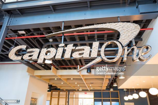 Elaborate metal sign for the financial services company CapitalOne in downtown Walnut Creek California November 17 2017