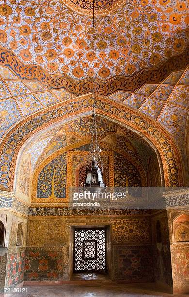 elaborate paintings on the ceiling of a mausoleum, sikandra, agra, uttar pradesh, india - agra stock pictures, royalty-free photos & images