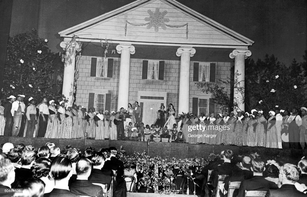 Elaborate stage set at the Gone With the Wind premiere.