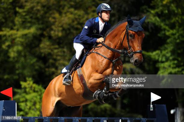 Elad Yaniv of Israel riding Alvaro du Gue competes during Day 3 of the Longines FEI Jumping European Championship speed competition against the clock...