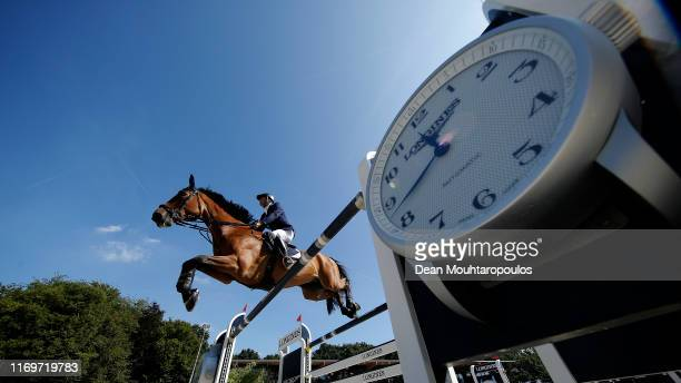 Elad Yaniv of Israel riding Alvaro du Gue competes during Day 4 of the Longines FEI Jumping European Championship 2nd part, team Jumping 1st round...